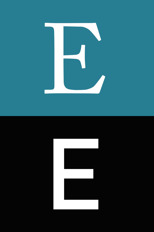 Över: versalt E i Adobe Caslon Regular, en antikva Under: versalt E i DIN Pro Regular, en sans-serif