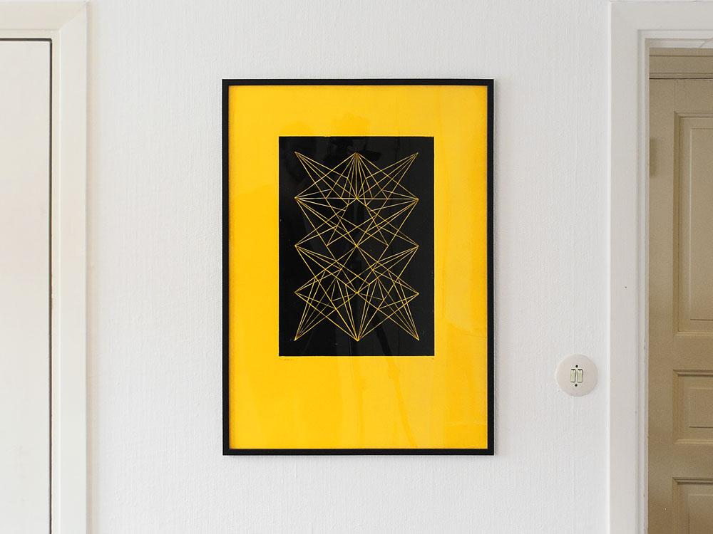 Linoleumtryck gul minimalism